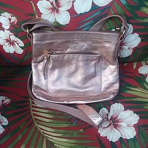 Fossil rosegold leather crossbody